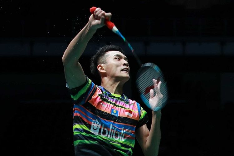 Jonatan Christie berlaga pada Malaysia Open 2019 di Axiata Arena, 4 April 2019.
