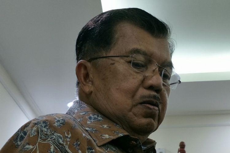 Wakil Presiden RI Jusuf Kalla di kantornya, Jakarta, Selasa (9/1/2018).