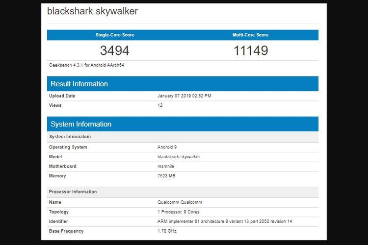 Spesifikasi ponsel Xiaomi Black Shark Skywalker muncul di halaman GeekBench.