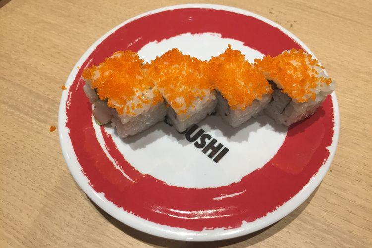 Menu California Roll dijual di Genki Sushi Indonesia.