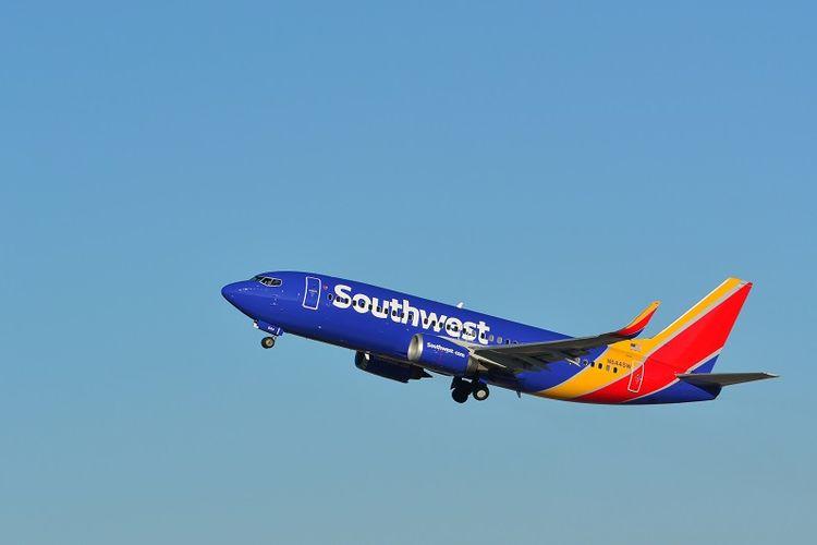 Sebuah pesawat milik maskapai penerbangan Southwest Airlines.