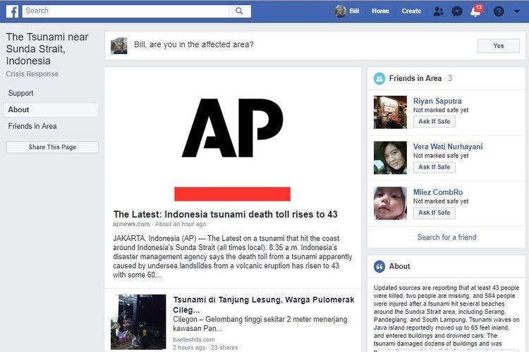 Tampilan Halaman Crisis Centre Tsunami Banten