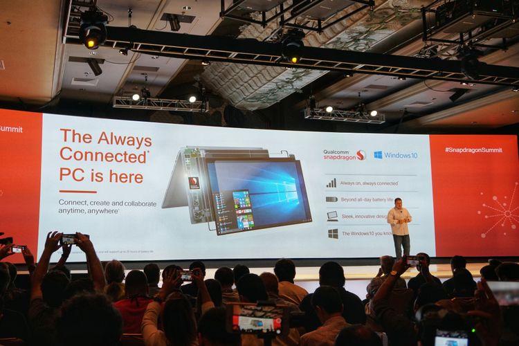 Qualcomm meresmikan kehadiran Always Conneted PC dalam ajang Qualcomm Snapdragon Summit 2017 yang digelar di Maui, Hawaii, Amerika Serikat, Selas (5/12/2017) waktu setempat.