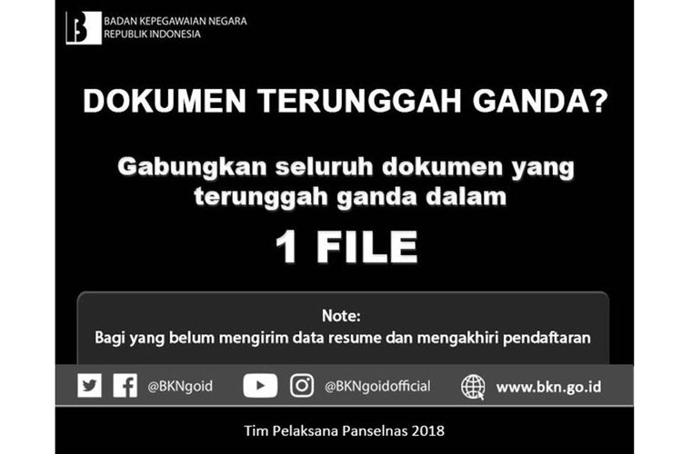 Imbauan BKN terkait dokumen ganda saat mendaftar CPNS 2018