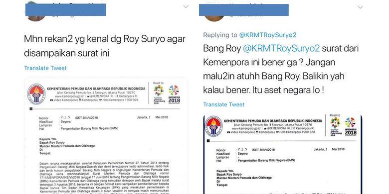 Tangkapan layar warganet yang membicarakan surat Kementerian Pemuda dan Olahraga tentang pengembalian Barang Milik Negara yang ditujukan kepada Mantan Menpora, Roy Suryo.