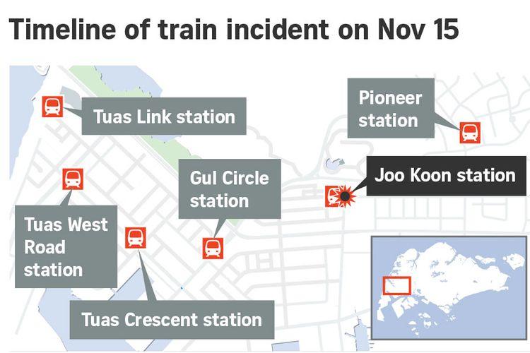 Lokasi kejadian tabrakan MRT Singapura, Kamis (15/11/2017)