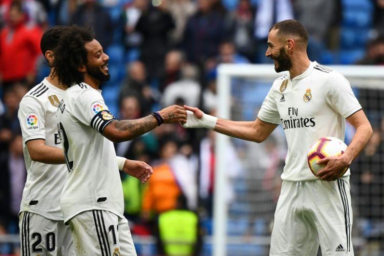 Karim Benzema mencetak hattrick pada laga versus Athletic Bilbao, Senin (22/4/2019)