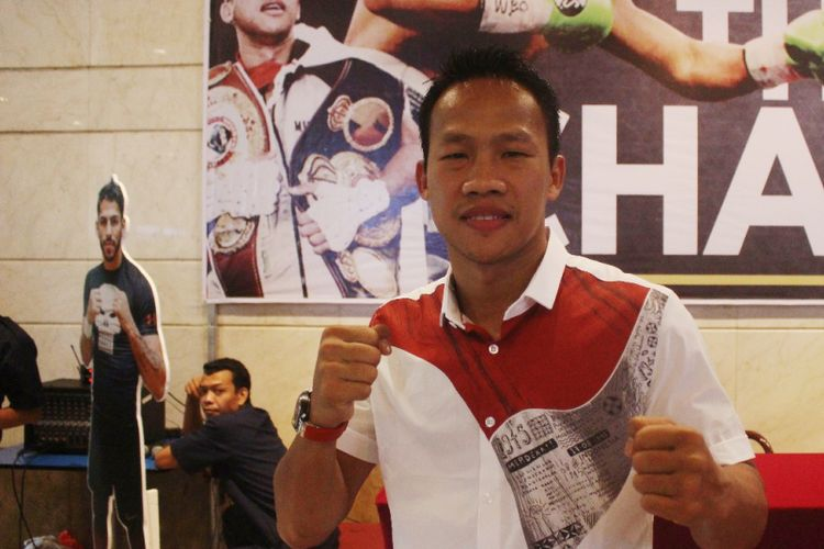 Daud Yordan sesaat setelah mengumumkan lawan mainnya melalui konferensi pers di Gedung Bidakara I, Jakarta pada Kamis (9/8/2018).