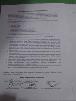 Surat kesepakatan dari hasil pertemuan membahas surat edaran tentang pengaturan kegiatan bagi warga nonmuslim di Perumahan Bumi Anugerah Sejahtera di Desa Rajeg yang viral di media sosial, Kamis (7/12/2017).