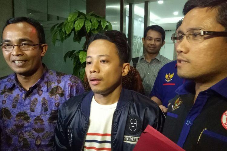 Komika Muhadkly alias Acho saat di Mapolda Metro Jaya, Rabu (9/8/2017).