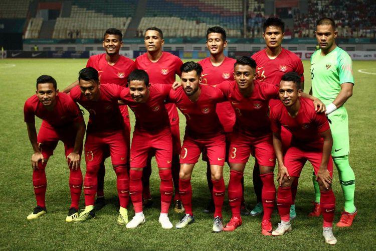 Starting eleven timnas Indonesia pada laga uji coba melawan timnas Myanmar di Stadion Wibawa Mukti, Rabu (10/10/2018).