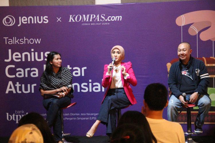 Perencana keuangan Prita Gozhie (tengah) dan Digital Banking Value Proposition and Product Head PT BTPN, Irwan Sutjipto Trisnabudi (kanan) dalam Talkshow Kompas.com dan BTPN Jenius bertema Cara Pintar Atur Finansial di Jakarta (2/2).