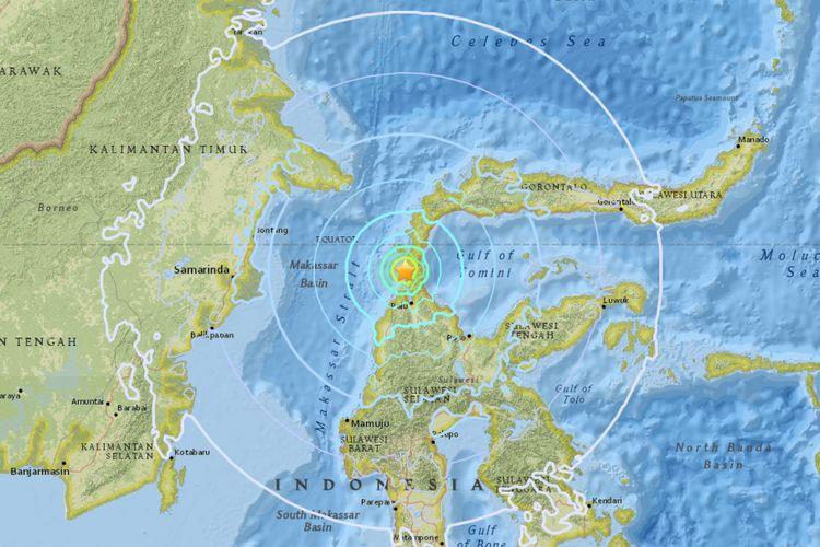 Peta pusat gempa di Donggala, Sulawesi Tengah, Jumat (28/9/2018), pukul 17.02 WIB.