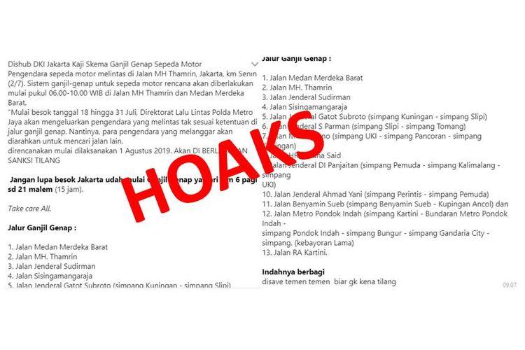 Hoaks, pesan penerapan ganjil genap untuk motor di DKI