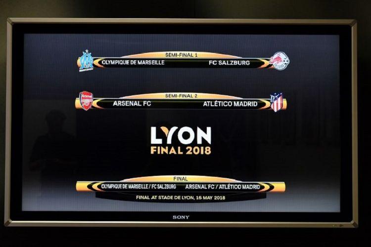 Hasil undian semifinal Liga Europa di markas UEFA, Jumat (13/4/2018), mempertemukan Marseille vs Salzburg dan Arsenal vs Atletico Madrid.