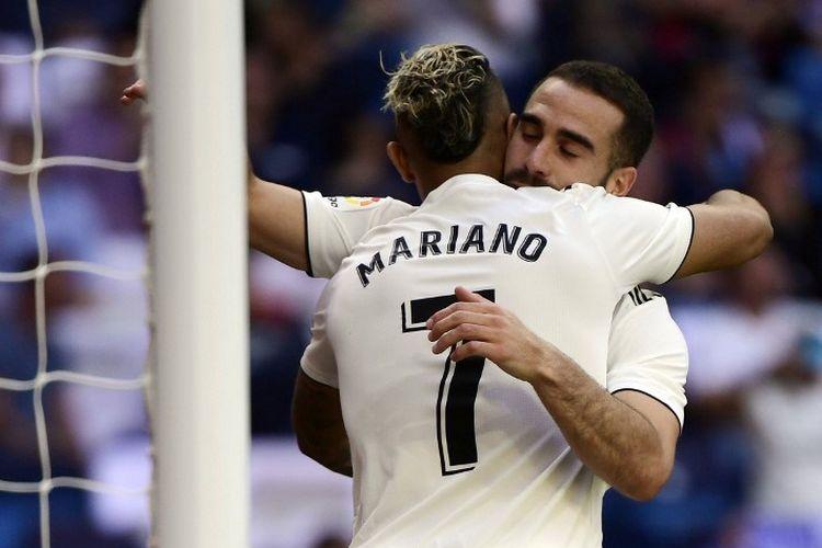 Mariano Diaz berterima kasih kepada Dani Carvajal yang memberinya assist pada laga Real Madrid vs Villarreal dalam lanjutan La Liga Spanyol di Stadion Santiago Bernabeu, 5 Mei 2019.