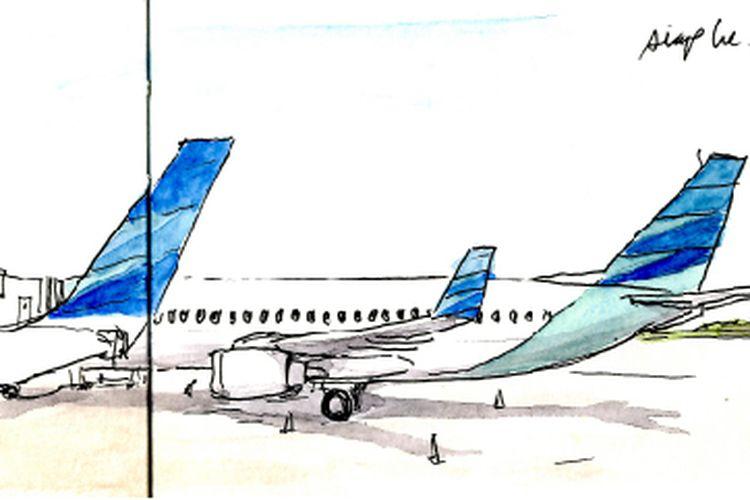 Antrean pesawat Garuda Indonesia menaikkan penumpang di Bandar Udara Soekarno-Hatta menuju Bandar Udara Adisucipto, Yogyakarta.