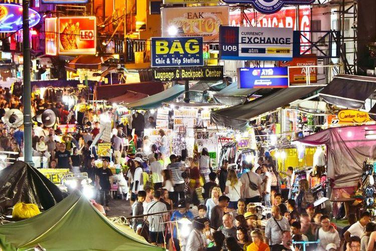 Khao San Road di Bangkok, Thailand.