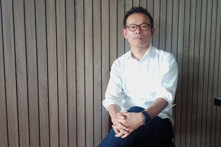 Design Manager of Casio Timepiece, Ryusuke Moriai ketika ditemui di Discovery Hotel, Ancol, Jakarta Utara, Sabtu (8/12/2018).