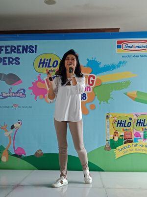 Spesialis Gizi Klinik, dr Cindiawaty J. Pudjiadi MARS,MS, SpGK dalam konferensi pers pembukaan rangkaian kegiatan HiLo School Drawing Competition 2018 di Morissey Hotel Jakarta, Rabu (7/2/2018).