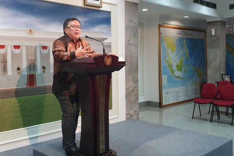 Kepala Badan Perencanaan Pembangunan Nasional (Bappenas) Bambang Brodjonegoro di Istana Kepresidenan, Jakarta, Senin (29/4/2019).
