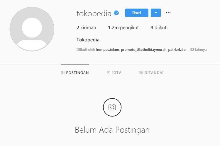 Konten Instagram milik Tokopedia mendadak hilang.