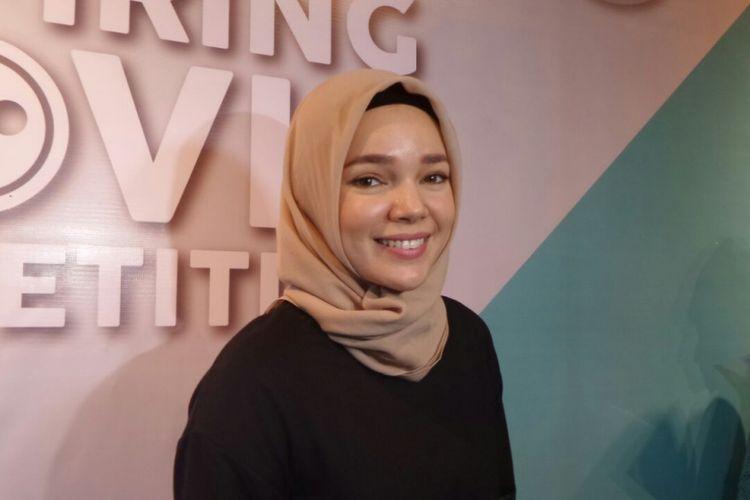 Dewi Sandra saat menghadiri talkshow tentang film pendek di Conclave, Jakarta Selatan, Sabtu (3/3/2018).
