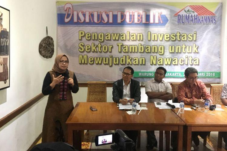 Anggota Komisi VII DPR Eni M. Saragih dalam diskusi publik Pengawalan Investasi Sektor Tambang untuj Mewujudkan Nawacita, Kamis  (22/2/2018)