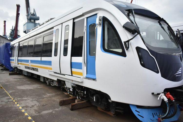 Kereta LRT Palembang saat berada di Pelabuhan Boombaru Palembang.
