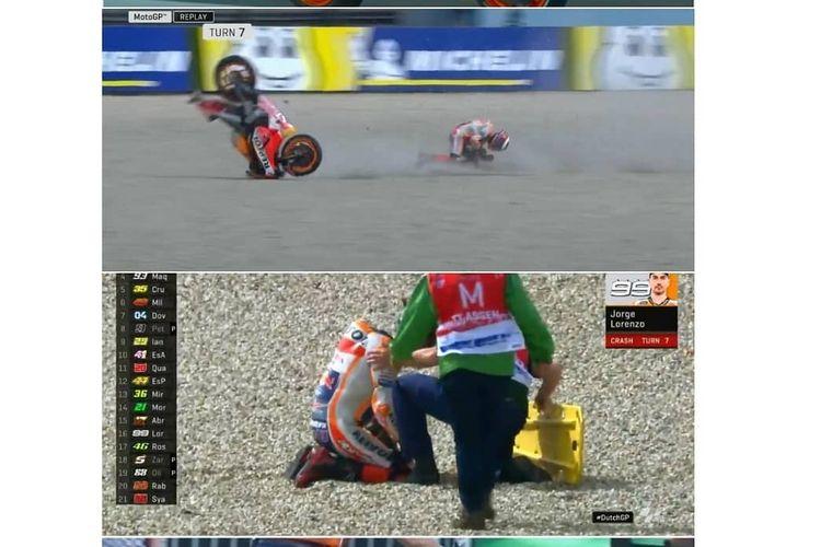 Jorge Lorenzo terjatuh saat sesi latihan FP1 di GP Assen.