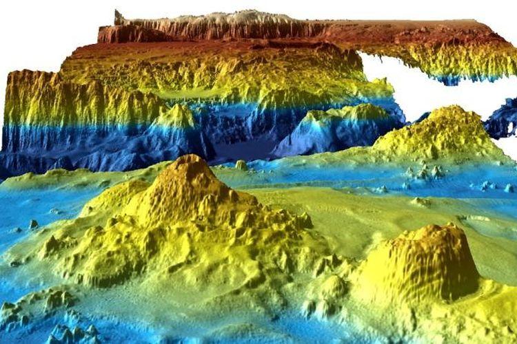 Model tiga dimensi dari dasar laut yang dikumpulkan oleh Australia selama masa pencarian MH370.