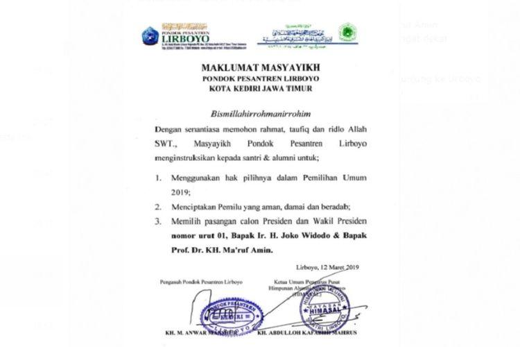 Maklumat masyayikh pesantren Lirboyo untuk mendukung Jokowi-Maruf Amin.