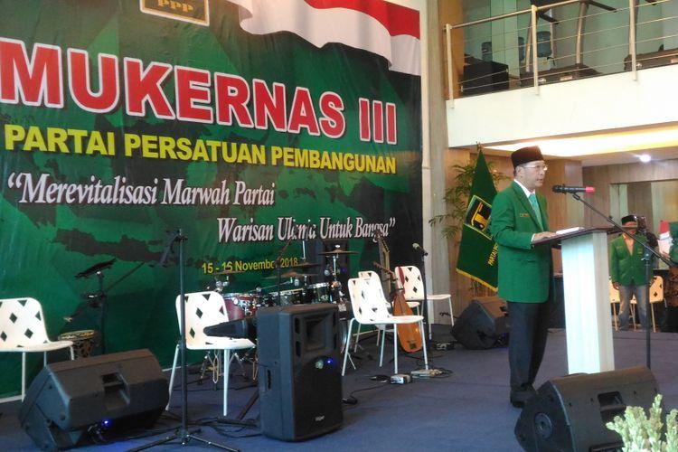 Ketua Umum PPP Humphrey Djemat saat memberikan pidato saat Mukernas di DPP PPP, Jakarta, Kamis (15/11/2018).