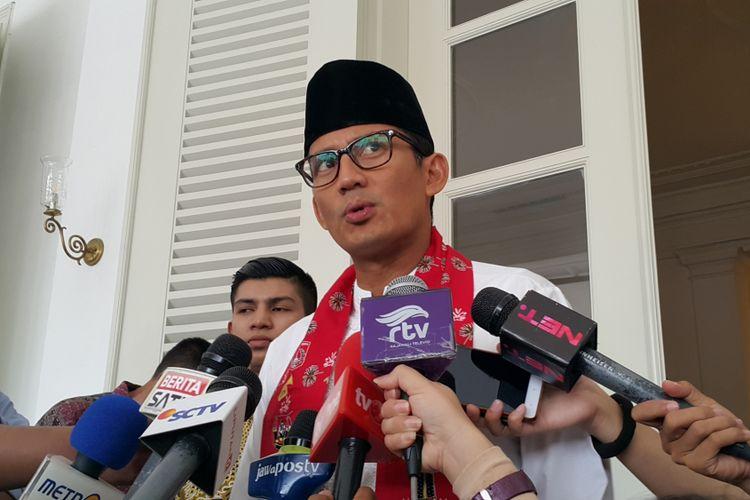 Wakil Gubernur DKI Jakarta Sandiaga Uno di Balai Kota DKI Jakarta, Jalan Medan Merdeka Selatan, Kamis (19/10/2017).