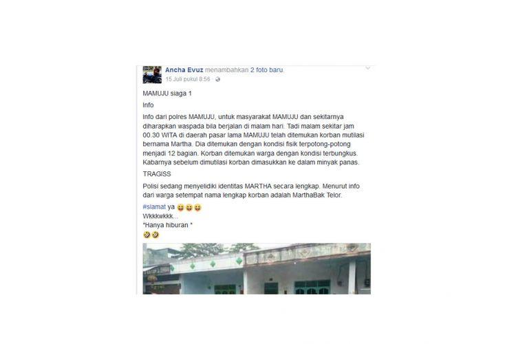 Ini status Facebook yang membuat pria berinisial H harus berurusan dengan polisi di Mamuju, Sulawesi Barat.