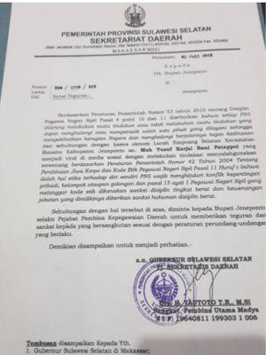 Surat Pemerintah Provinsi Sulawesi Selatan kepada Bupati Jeneponto Iksan Iskandar terkait arogansi Lurah Empoang Selatan, Muhammad Yusuf, Kecamatan Binamu, Jeneponto, Sulse   l.