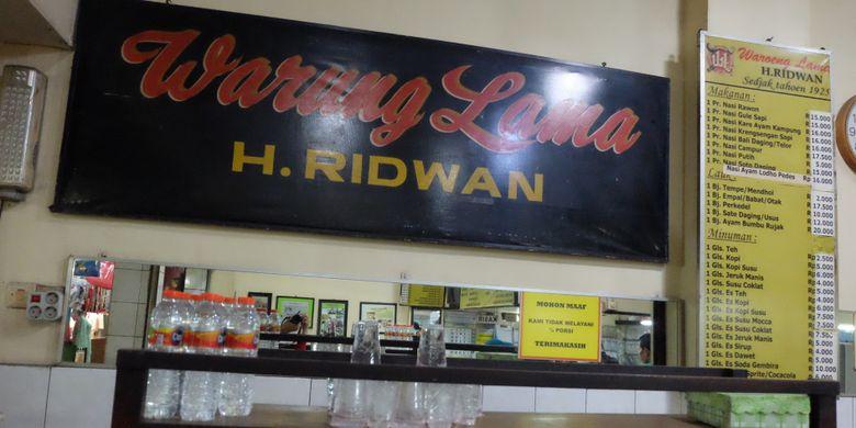 Warung Lama Haji Ridwan sejak 1925 di Pasar Besar Malang.