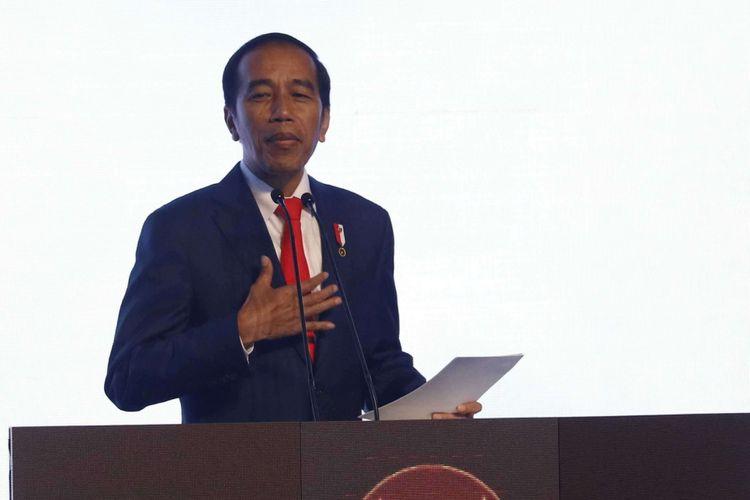 Presiden Joko Widodo menyampaikan sambutan dalam pembukaan Rapat Pimpinan Nasional (Rapimnas) Partai Demokrat tahun 2018 di Sentul International Convention Center, Bogor, Jawa Barat, Sabtu (10/03/2018) .Partai Demokrat menggelar Rapimnas selama dua hari 10-11 Maret 2018 untuk membahas strategi Pemilu 2018 serta Pemilu Legislatif dan Pilpres 2019.