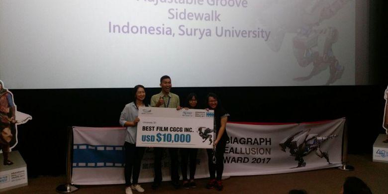 Tiga mahasiswa Universitas Surya menjuarai lomba animasi Asiagraph Reallusion Award 2017 yang digelar di Taiwan, 23-25 Agustus 2017.
