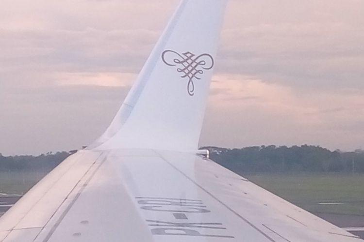 Logo Sriwijaya Air di sayap pesawat