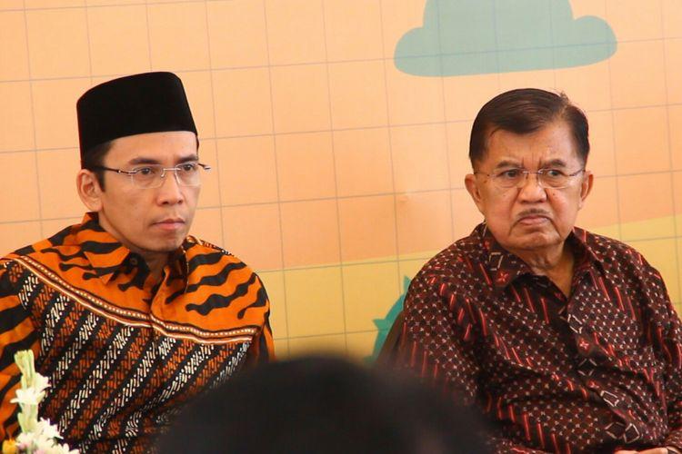 Lombok Tengah, Kompas Com TGB atau Guberbur NTB Zainul Majdi saat mendampingi Wapres Jusuf Kalla di Lombok Tengah, Kamis (5/7)