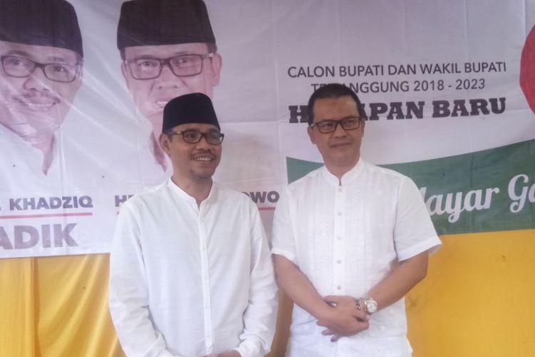 Paslon bupati dan wakil bupati Al Khadziq dan Heri Ibnu Wibowo sementara mendapat perolehan suara terbanyak sebanyak 56 persen pada Pilkada Temanggung, Kamis (28/6/2018).