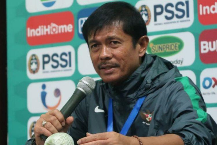 Pelatih timnas U-19 Indonesia, Indra Sjafri pada konferensi pers seusai laga melawan Filipina, Kamis (5/7/2018).
