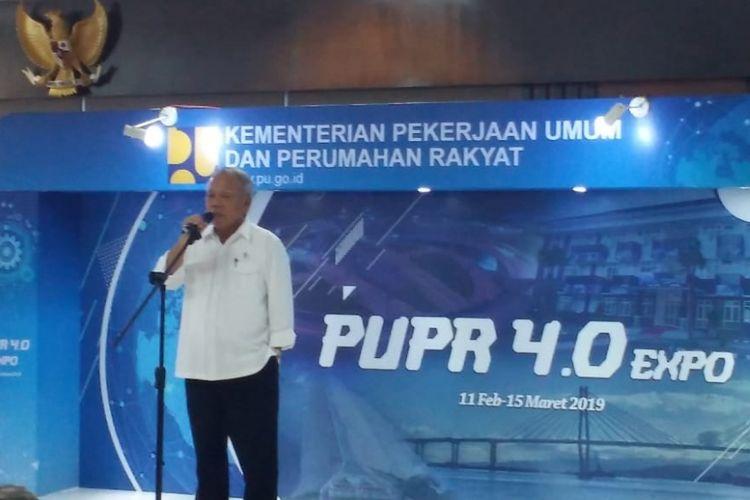 Menteri PUPR Basuki Hadimuljono dalam pembukaan PUPR 4.0 Expo di Jakarta, Senin (11/2/2019).