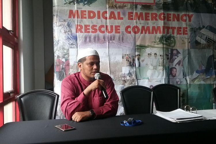 Putra Abu Bakar Baasyir, Abdul Rochim Baasyir berharap ada kelonggaran hukuman isolasi ayahnya atas pertimbangan kemanusiaan, Jakarta, Jumat (12/8/2017).