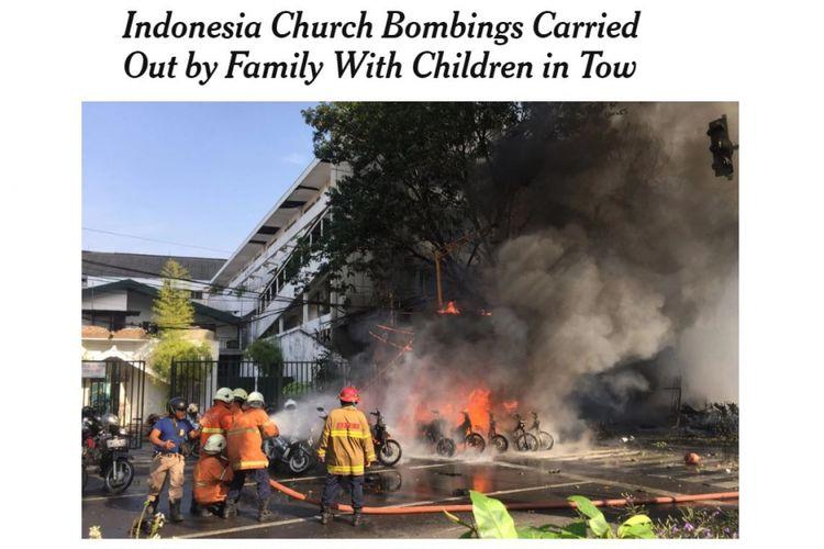 Bom Surabaya yang turur menyertakan anak-anak dalam aksi bom bunuh diri menjadi sorotan media asing,