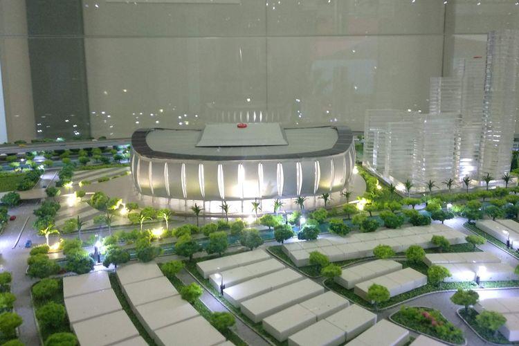 Maket Jakarta Internasional Stadium di Taman BMW, Jakarta Utara, Kamis (14/3/2019).