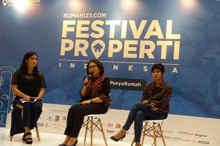 General Manager Sales Rumah123 Maria Manik (tengah) dalam Festival Properti Indonesia 2018 di Jakarta, Rabu (14/11/2018).