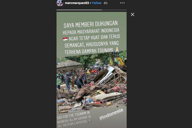 Unggahan Marc Marquez terhadap bencana tsunami di Banten, Indonesia