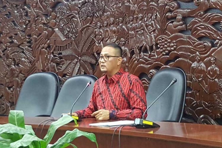 Dirjen Aptika Semuel Abrijani Pangarepan saat memberikan keterangan pers di Jakarta, Rabu (8/11/2017)